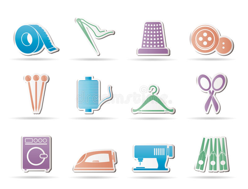 Textile objects and industry icons - icon stock illustration