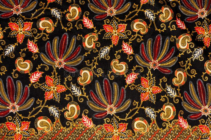 textile product. fabric with flower pattern and ornament. batik from Indonesia royalty free stock photo