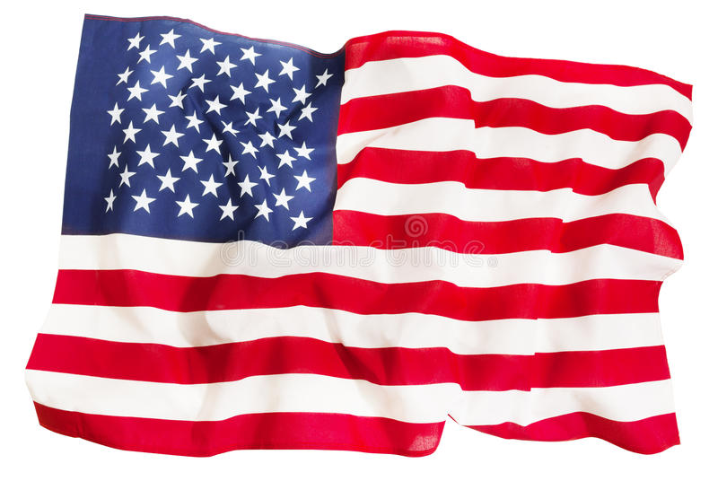 Textile ruffled American flag isolated on white royalty free stock images