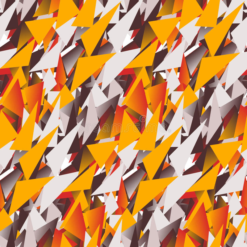 Textile seamless pattern of colored triangles in warm colors royalty free illustration