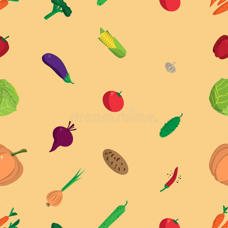 Textile seamless pattern flat cartoon vegetables. Organic healthy food. Harvest autumn agriculture background royalty free illustration