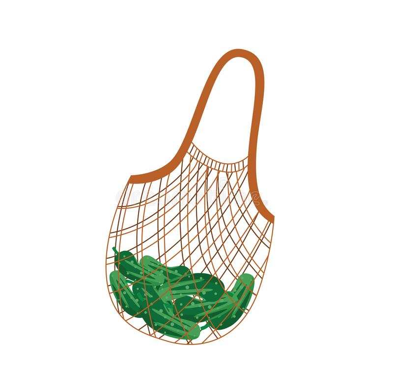 Textile string reusable shopping bag with green cucumbers. Textile string reusable shopping bag with green cucumbers for zero waste and eco friendly concept in vector illustration