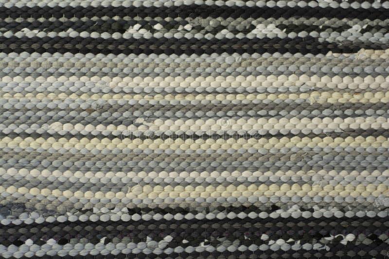 Textile Textur Gewebe horizontale Linien Baumwolle handgefertigte recycelte Teppich, Teppich, graue Farbe Nullabfall lizenzfreie stockbilder