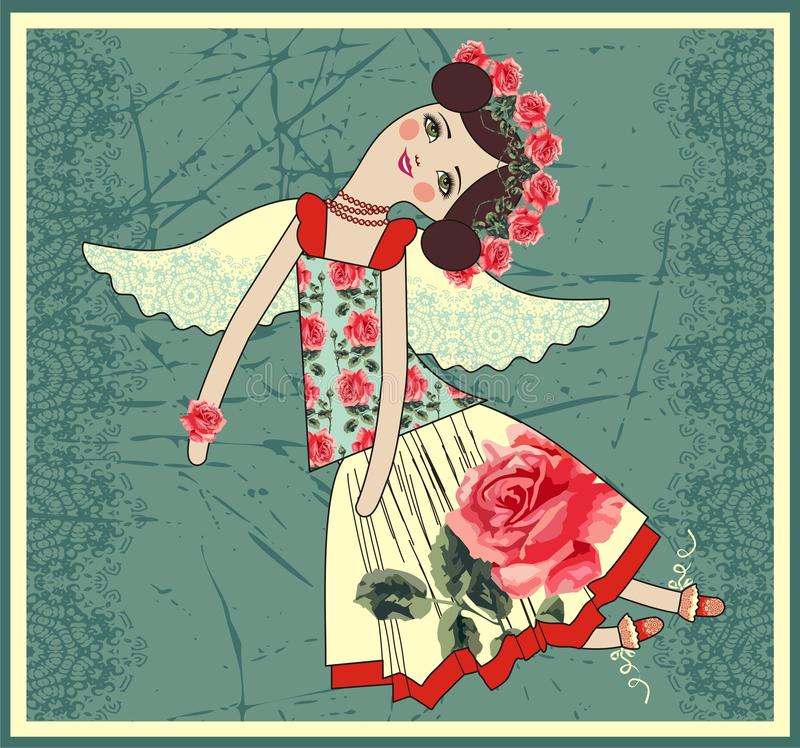 Textile Tilda doll with angel wings royalty free illustration