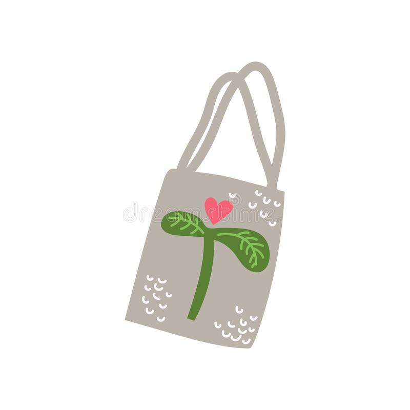 Textile Tote Bag, Zero Waste Reusable Object, Eco lifestyle Concept Vector Illustration. On White Background royalty free illustration