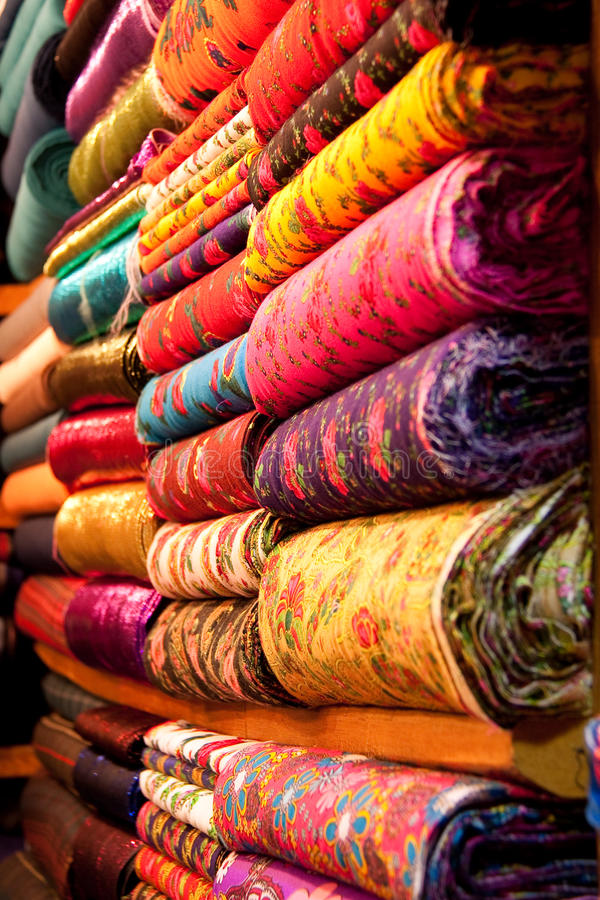 Textiles. Exposed in Istanbul bazaar royalty free stock photo