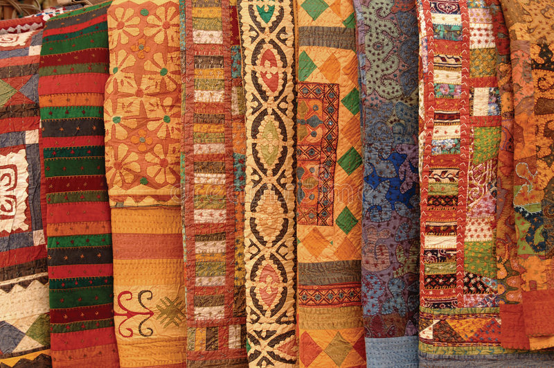 Textiles. Colorful textiles from around the world stock photography
