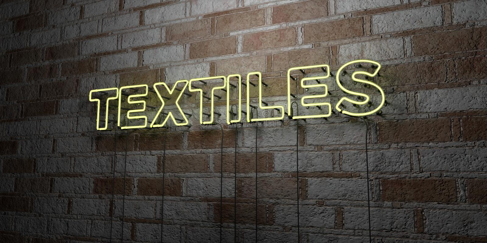 TEXTILES - Glowing Neon Sign on stonework wall - 3D rendered royalty free stock illustration. Can be used for online banner ads and direct mailers vector illustration