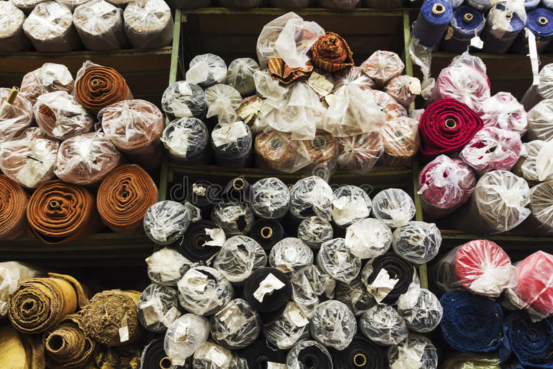 Textiles rolls. A big textiles deposit in bucharest, romania stock image