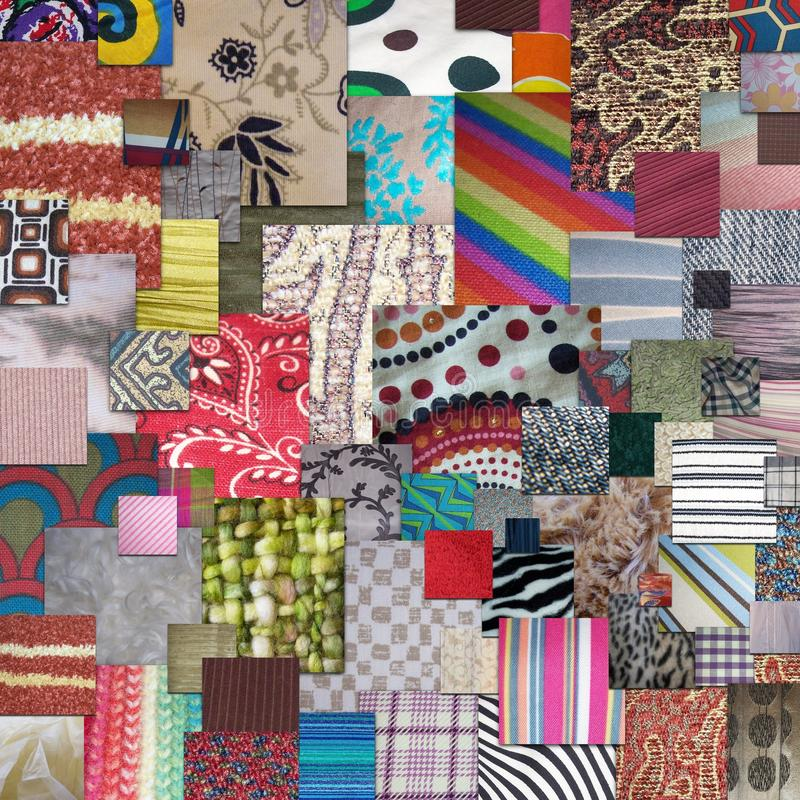Textiles. Squares overlapping textiles and fabrics royalty free stock image
