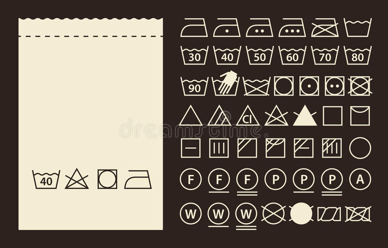 Textiletikett- och tvagningsymboler vektor illustrationer