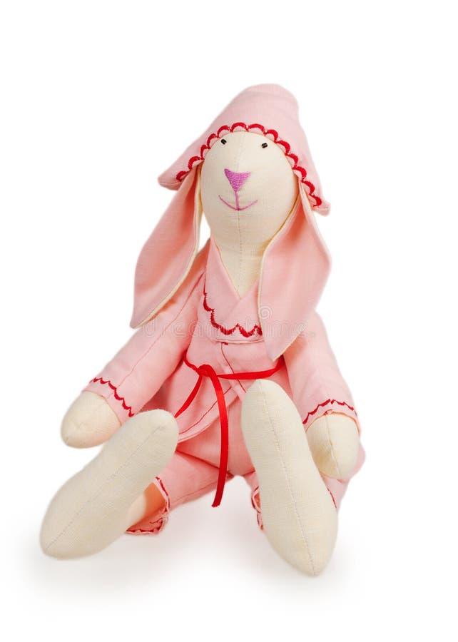 Textilhandgemachtes Kaninchenspielzeug stockfotos