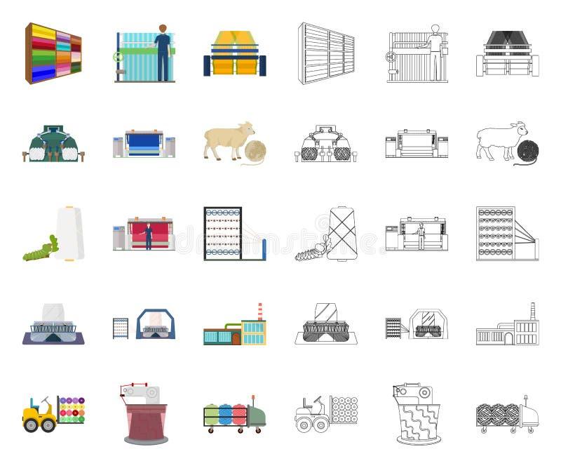 Textilindustriekarikatur, Entwurfsikonen in gesetzter Sammlung f?r Entwurf Textilausr?stung und Gewebevektorsymbolvorrat lizenzfreie abbildung