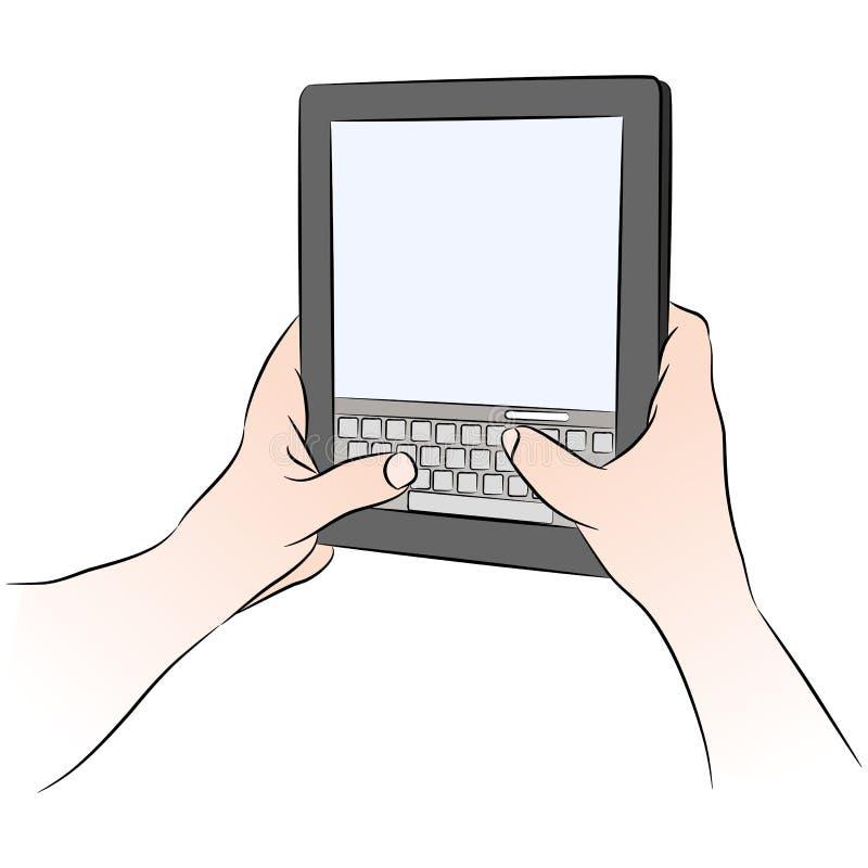 texting设备数字式关键董事会的片剂 皇族释放例证