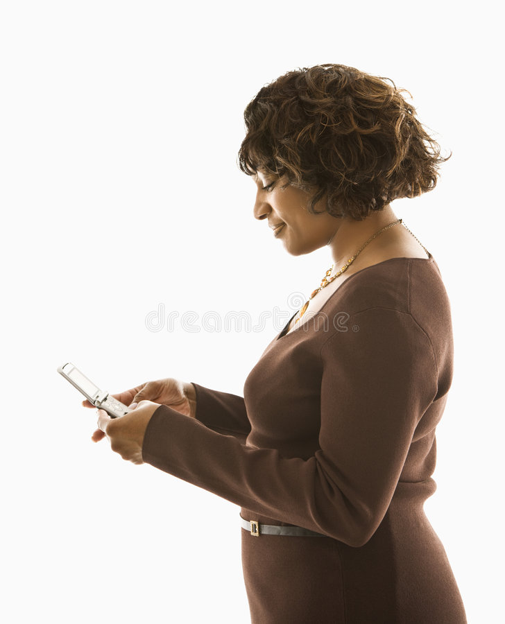 texting γυναίκα κινητών τηλεφώνων στοκ εικόνες
