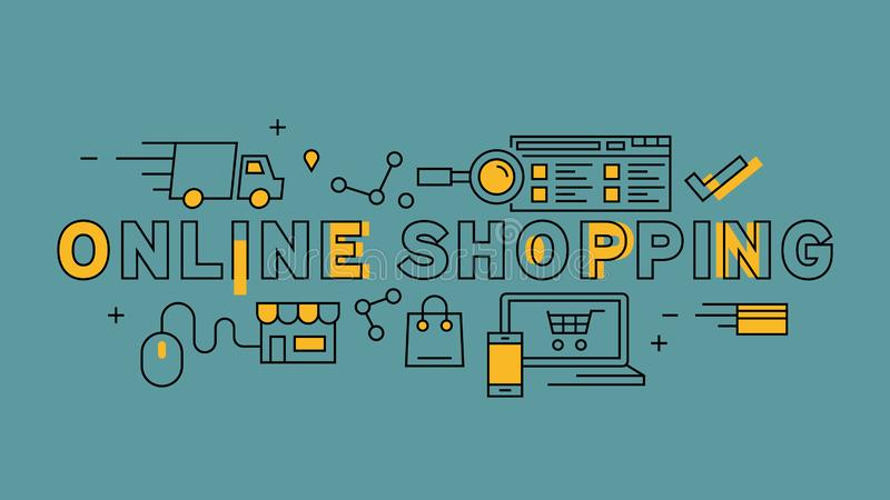 Online Shopping Typography. Orange flat line design in blue background. Business and marketing infographics with youthful doodle s. Tyle stock illustration