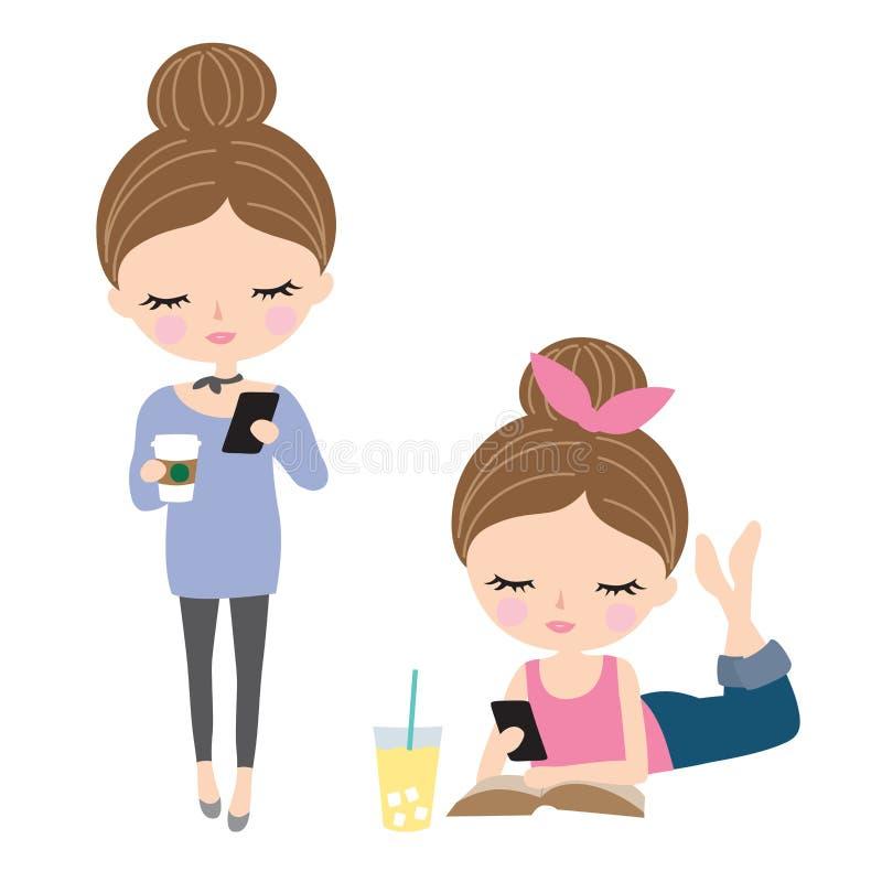 Texting bonito da mulher ou do adolescente ilustração stock