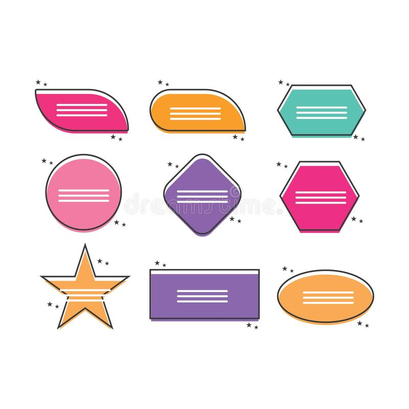 Texting boxes. Colored quote box speech bubble template text note royalty free illustration