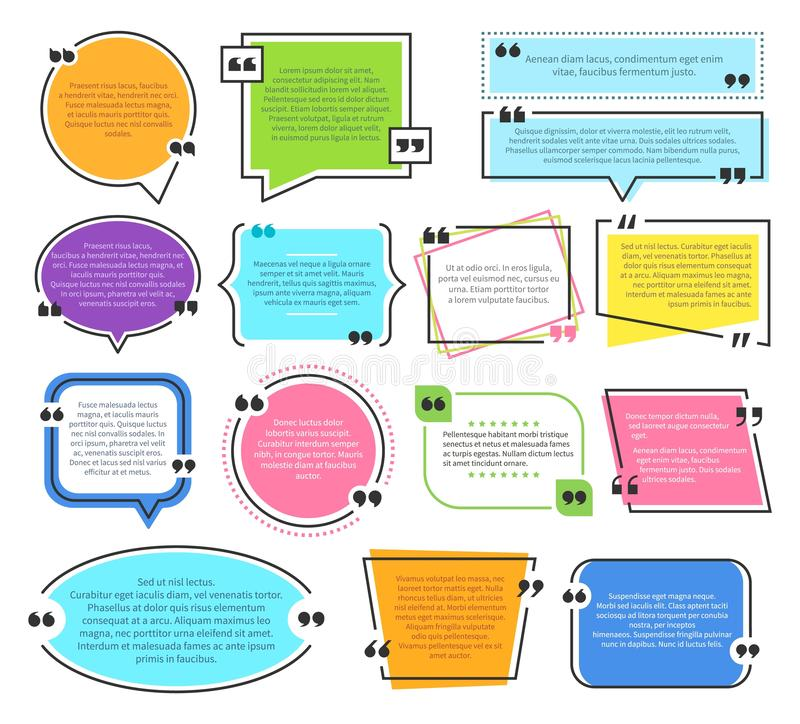 Texting boxes. Quote text design info boxes quotation bubble blog quotes symbols. Speech citation balloons, remark frame royalty free illustration