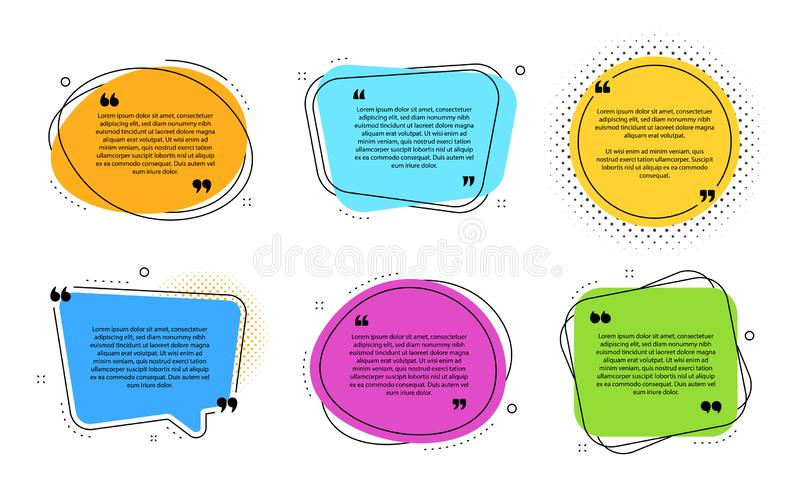 Texting boxes. Quote text design info boxes. Quotation chat bubbles. Speech citation balloons. Vector set vector illustration