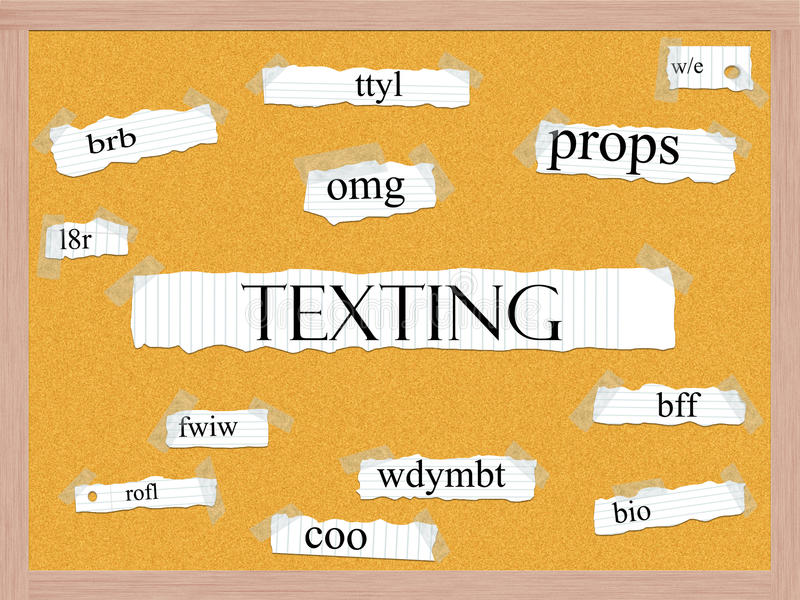 Texting Corkboard Word Concept royalty free illustration