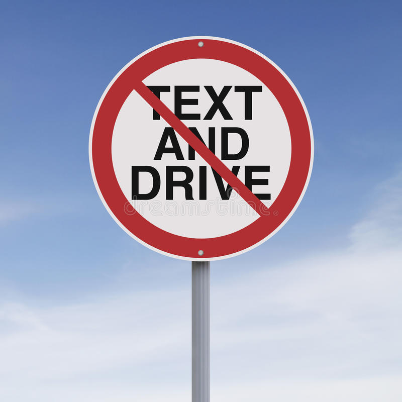 Texting and Driving Not Allowed stock illustration