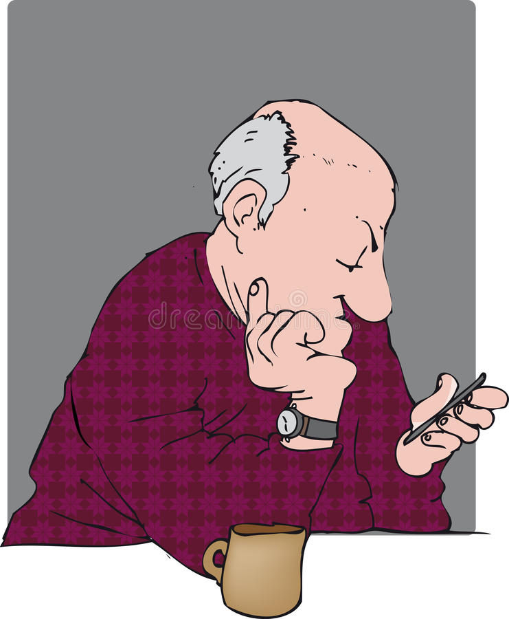 Texting man royalty free illustration