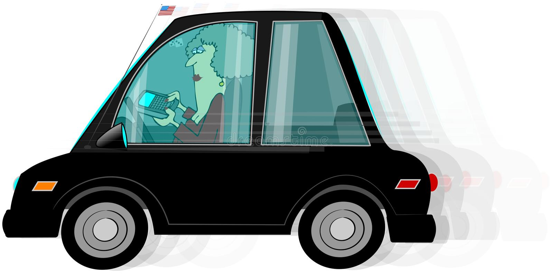 Texting mientras que conduce stock de ilustración
