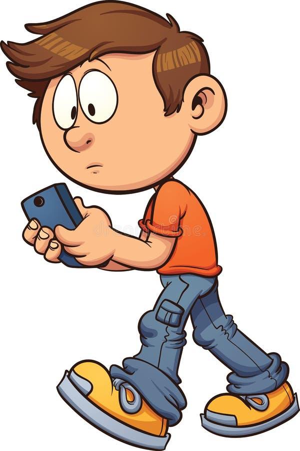 Texting terwijl het lopen royalty-vrije illustratie