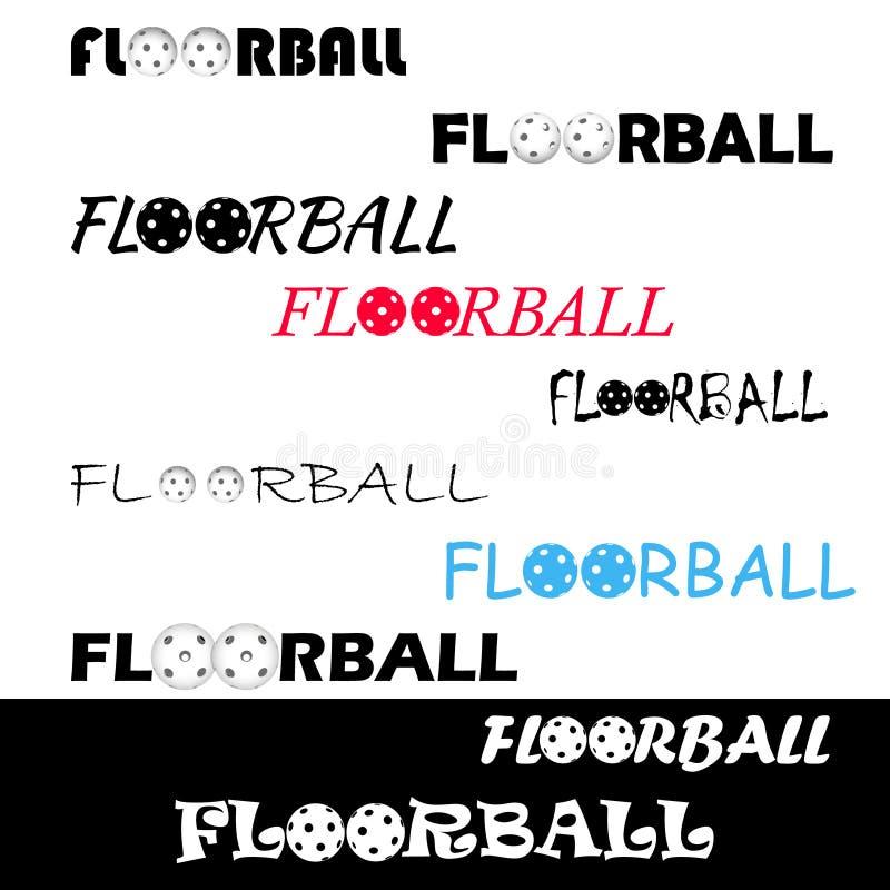 Textl di Floorball per il logo il gruppo e la tazza illustrazione di stock