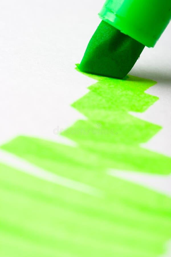 Textmarker verde di scrittura fotografie stock