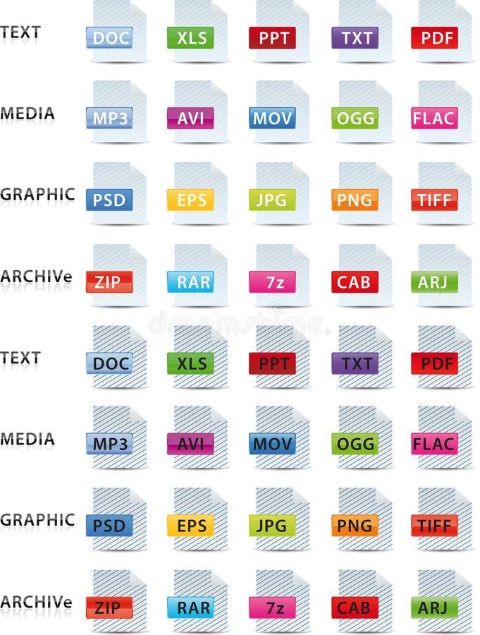 Textmediagraphik und Archivikone lizenzfreie abbildung