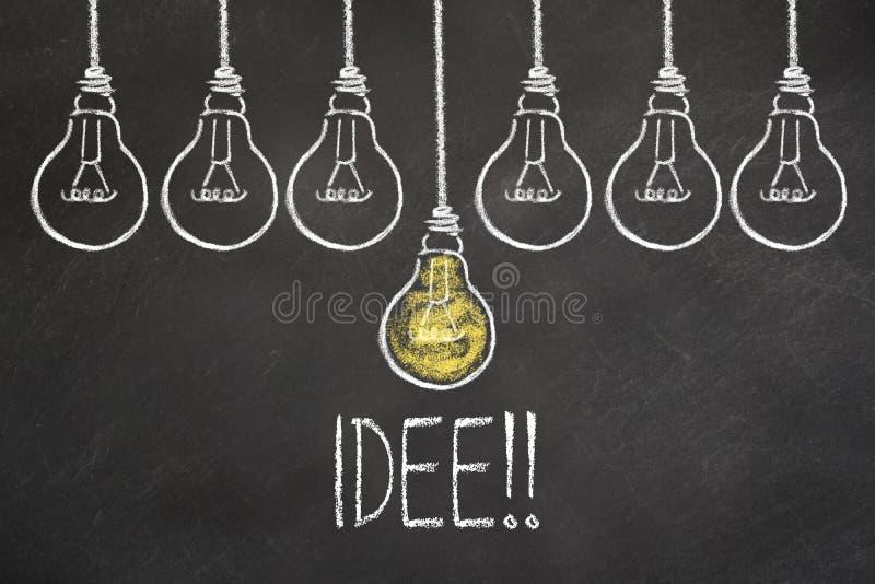 Texto 'Idee 'y bombillas en la pizarra Traducci?n: ?Idea ? ilustración del vector