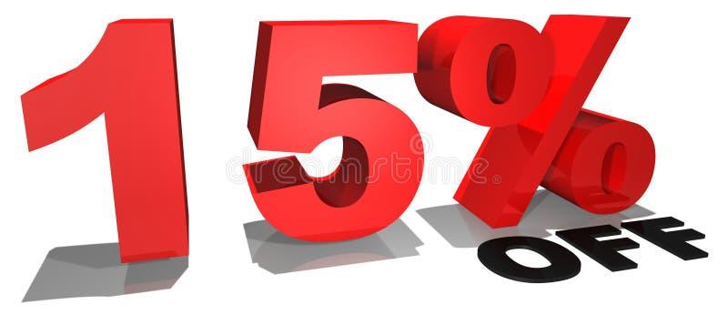 Texto 15% da promoção de venda fora ilustração stock