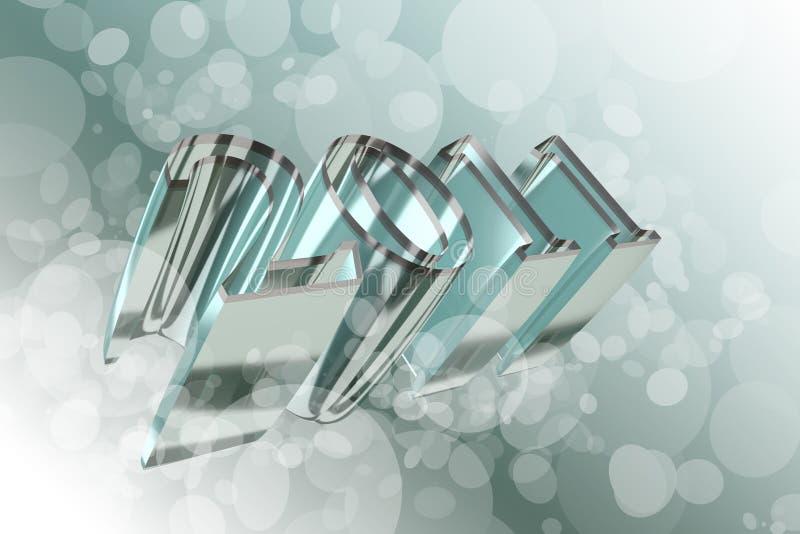 Texto 2011 do ano novo ilustração do vetor