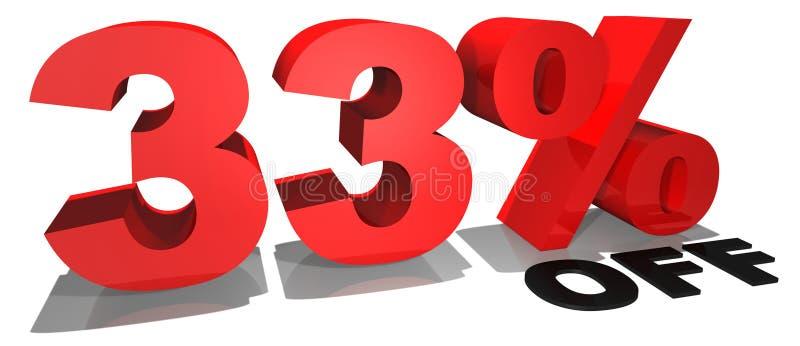 Texto 33% da promoção de venda fora ilustração stock