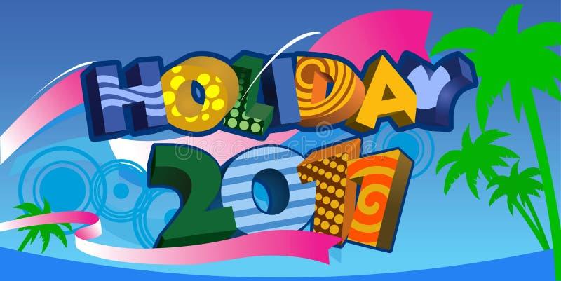 Texto 3D das férias de verão 2011 ilustração royalty free