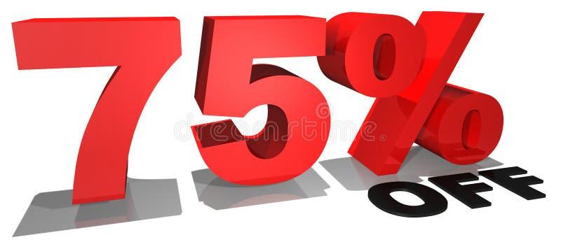 Texto 75% da promoção de venda fora ilustração royalty free