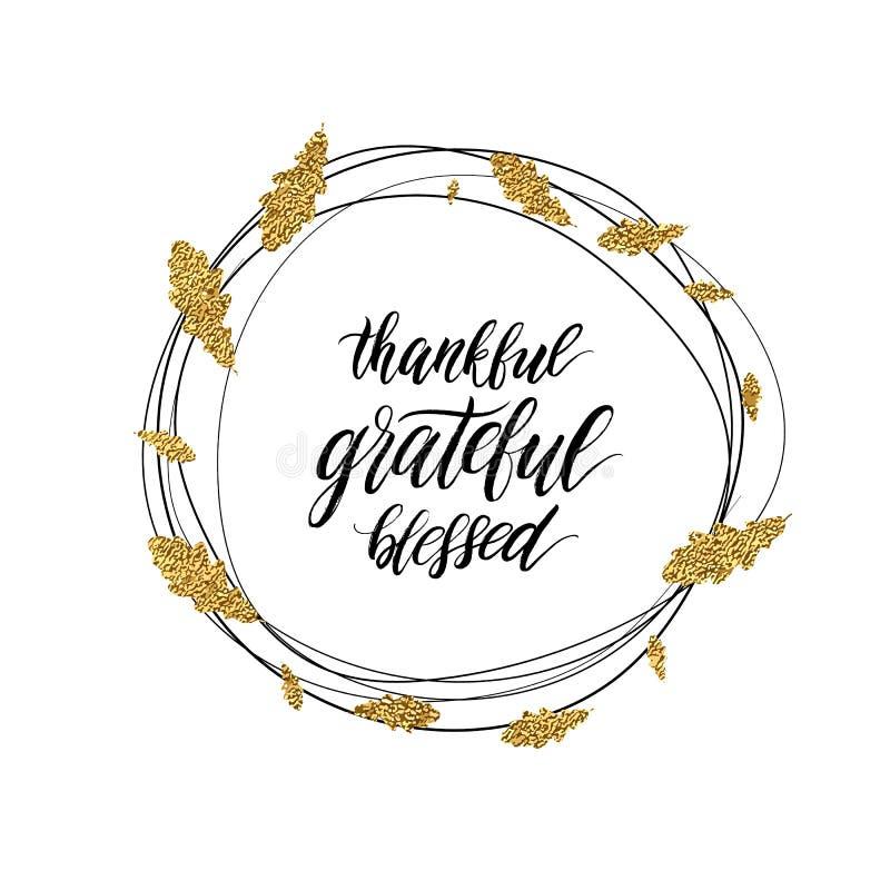 Texto agradecido, bendecido, agradecido en guirnalda brillante del oro del otoño ilustración del vector