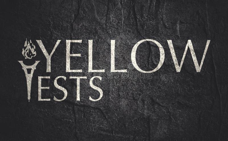 Texto amarillo de los chalecos imagen de archivo libre de regalías