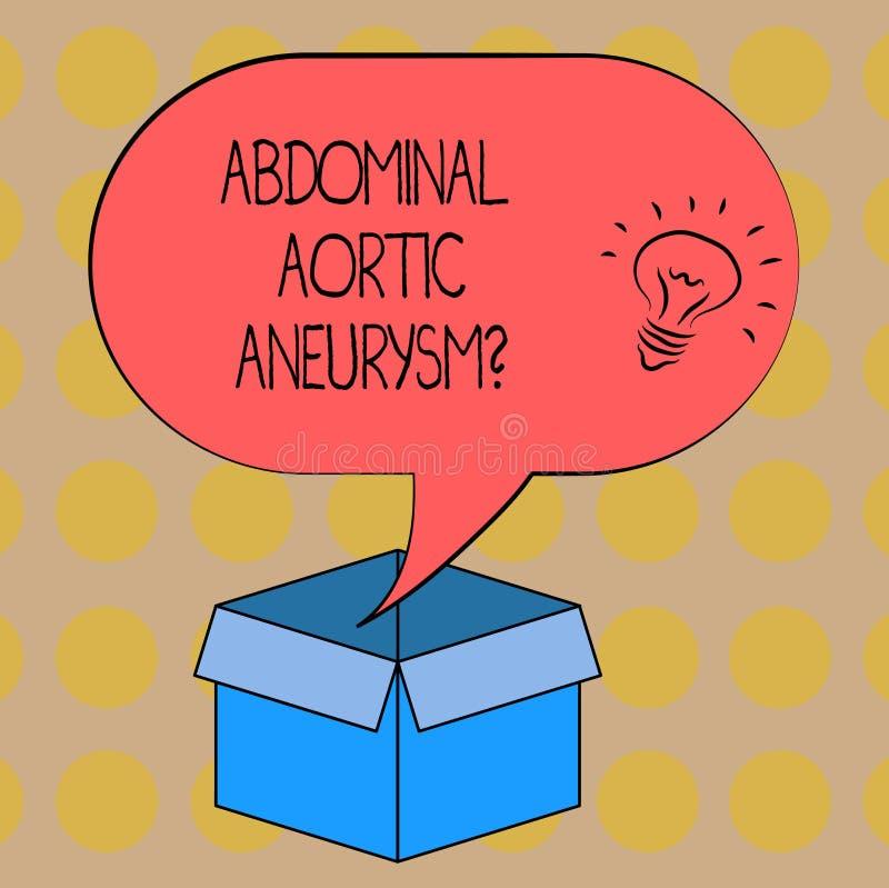 Texto Aneurysmquestion aórtico abdominal de la escritura de la palabra Concepto del negocio para que familiarización con la ampli ilustración del vector