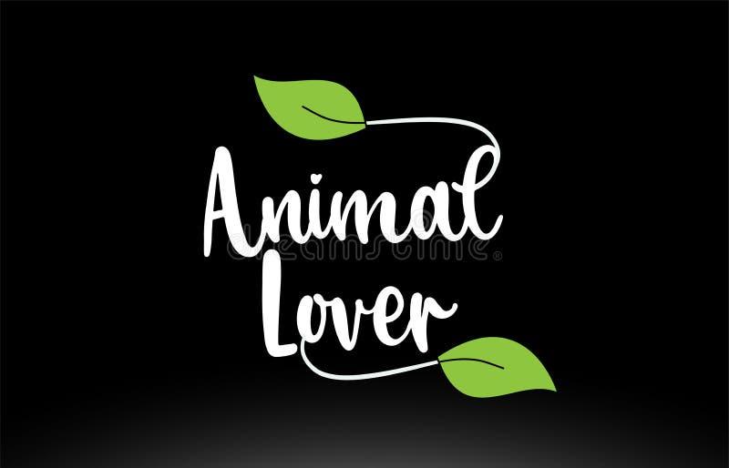 Texto animal de la palabra del amante con dise?o verde del icono del logotipo de la hoja stock de ilustración