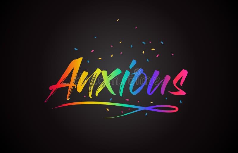 Texto ansioso de la palabra con colores vibrantes y confeti del arco iris manuscrito libre illustration
