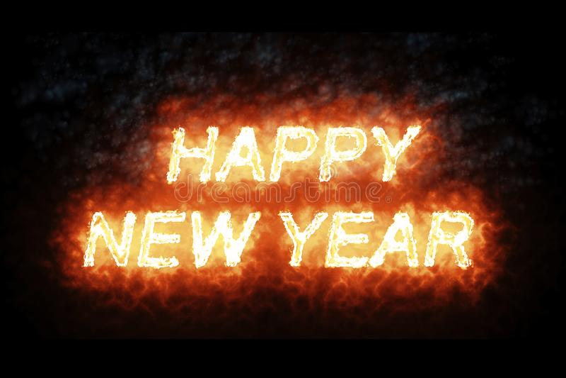 Texto ardente da palavra do fogo do ano novo feliz com chama e fumo no fogo no fundo preto com canal alfa, 2018, 2019, 2020, 2021 ilustração stock