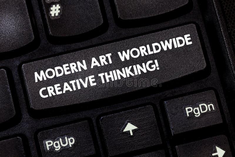 Texto Art Worldwide Creative Thinking moderno de la escritura de la palabra Concepto del negocio para el teclado artístico de las foto de archivo