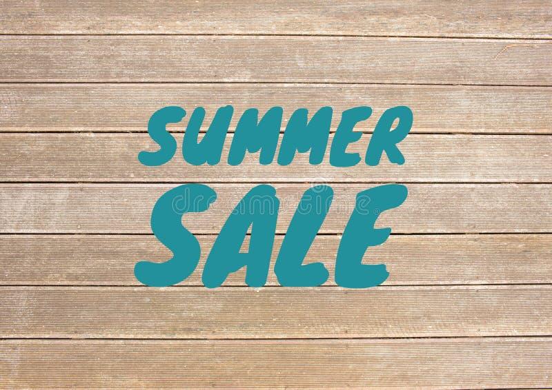 Texto azul de la venta del verano contra decking fotografía de archivo