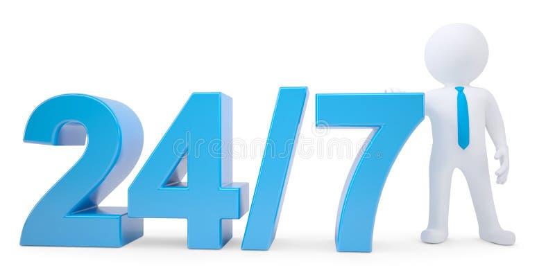 Texto azul y hombre blanco 3d. Las veinticuatro horas del día 7 días a la semana ilustración del vector