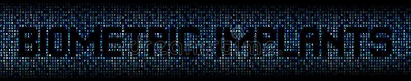 Texto biométrico de los implantes en el ejemplo del código del maleficio stock de ilustración