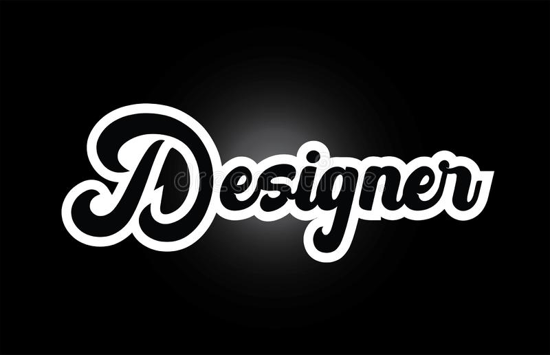 texto blanco y negro de la palabra escrita de la mano del diseñador para el diseño del icono del logotipo de la tipografía stock de ilustración