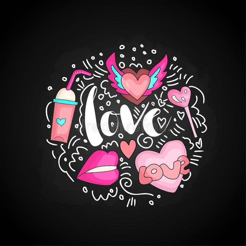 Texto bonito do amor da garatuja no formulário redondo colorido Amor bonito do vetor do divertimento com coração voado, cocktail, ilustração royalty free